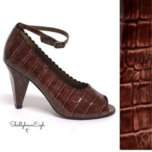 MARC JACOBS Croco ANKLE Strap Heels Pumps 36.5 NEW
